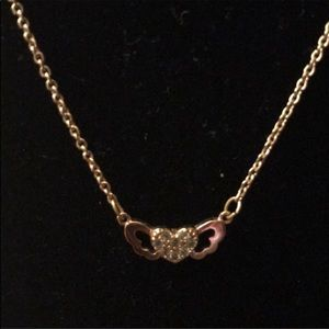Dainty Heart winged shaped gold necklace